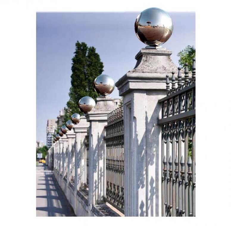 Stainless Steel Sphere/Ball with Base, Stainless steel sphere sculpture, indoor/outdoor decoration, interior/exterior decoration, design, handrail