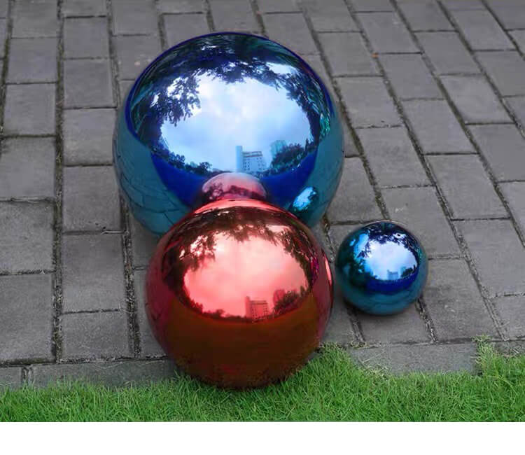 Red/Blue Stainless Steel Hollow Sphere, Color Stainless Steel Ball, interior/ exterior decoration, indoor/outdoor decoration, design