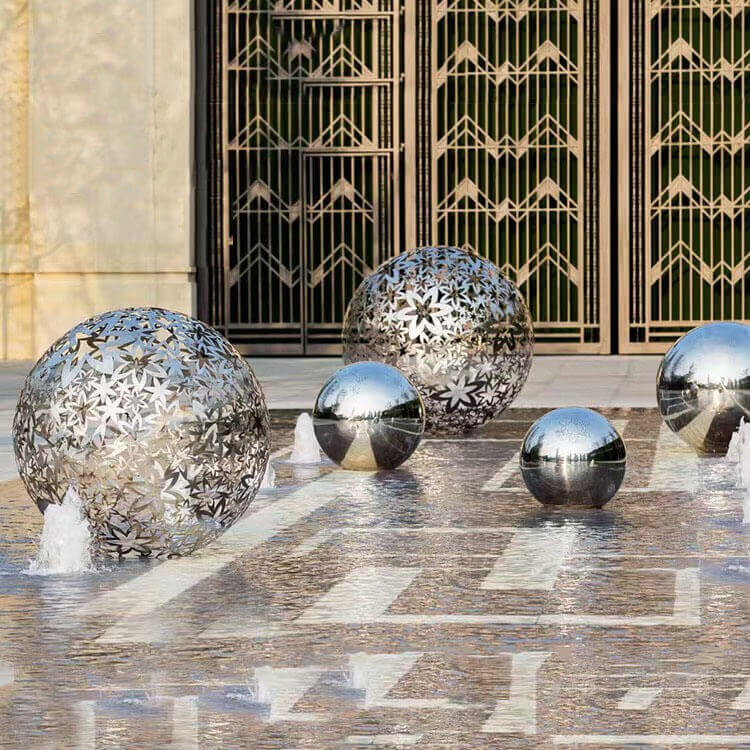 Stainless Steel Hollow Sphere Water Feature